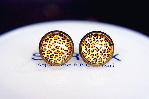 10mm Leopard Print Earrings Glass Dome Earrings Classic Leopard Studs Earrings