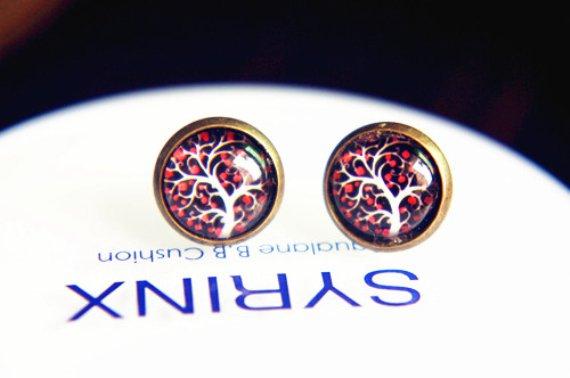 10mm Tree of Life Studs Earrings Tree Earrings Glass Dome Earring Glass Cabochon Stud