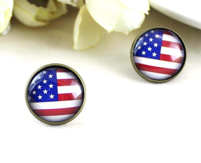 12mm American Flag Earrings USA Flag Studs Earrings Glass Cabochon Earring Studs