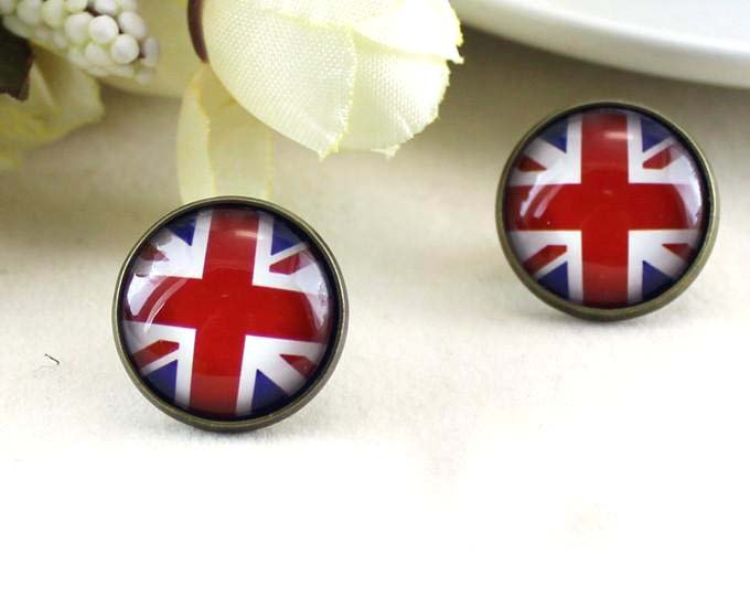 12mm British Flag Earrings UK Flag Studs Earrings Glass Cabochon Earring Studs