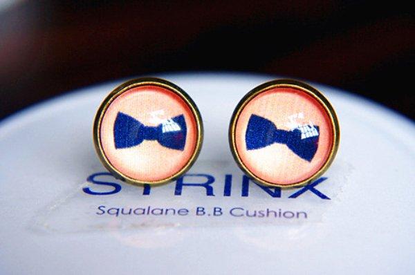 10mm Bow Earrings Glass Cabochon Earrings Blue Bow Tie Studs Earrings Glass Dome