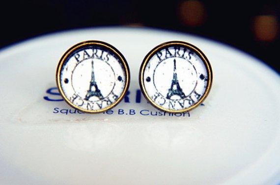 Vintage Paris Earrings Glass Dome Earrings Eiffel Tower Studs Earrings