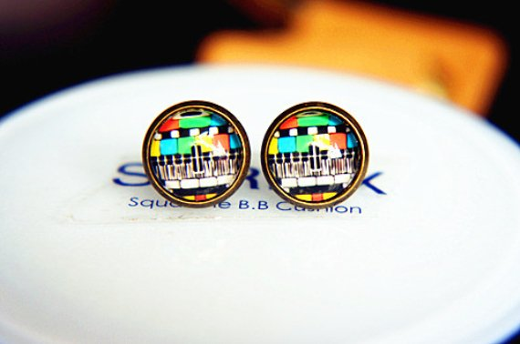 10mm Vintage TV Channel Earrings Glass Dome Earrings TV Pattern Earrings Glass Cabochon Earring