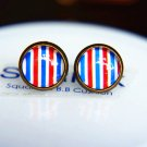 10mm Navy Striped Stud Earrings Glass Dome Earrings Nautical Stripes Earrings Glass Cabochon Earring
