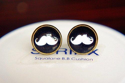 12mm White Moustache Stud Earrings,Glass Dome Earrings Hipster Geek Jewelry Beard Earrings