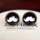 12mm White Moustache Stud Earrings,Glass Dome Earrings Hipster Geek Jewelry Beard Earrings
