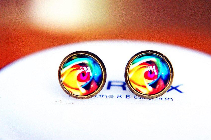 10mm Rose Stud Earrings Glass Dome Earring Colorful Rose Stud Earrings