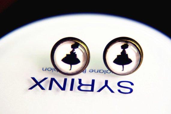 10mm Ballet Girl Stud Earrings Glass Dome Earring Girl Image Stud Earrings