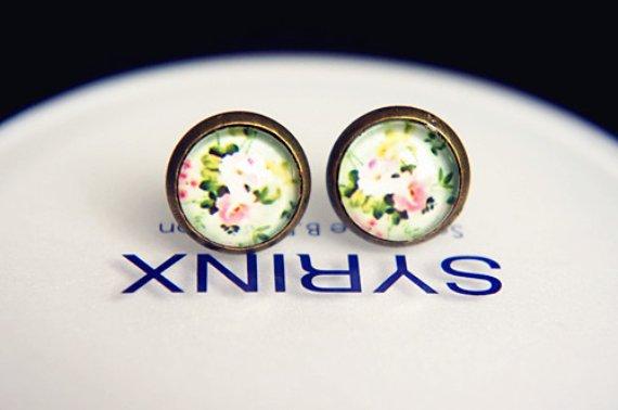 10mm Flowers Earrings Glass Cabochon Vintage Floral Stud Spring Earrings