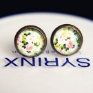 10mm Flowers Earrings Glass Cabochon Vintage Floral Stud Spring Earrings