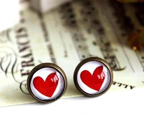 10mm Heart Stud Earrings Red Heart Earrings Glass Dome Stud Earring Valentine's gift
