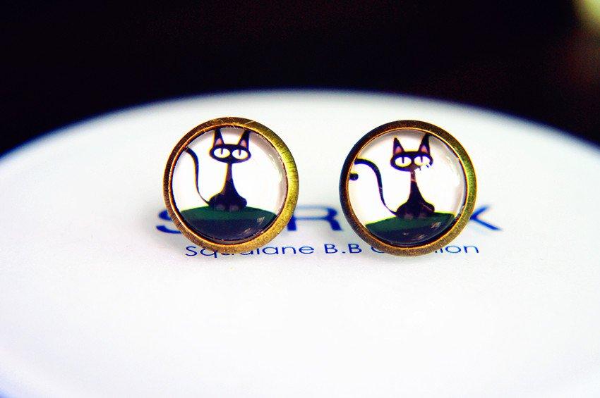 Black Cat Earrings Glass Dome Earring Black Cat Stud Earrings,Black Cat Post Earrings