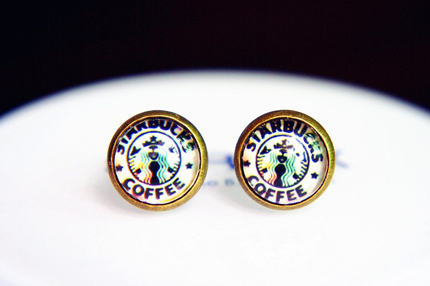 10mm Starbucks Earrings Glass Dome Earrings StarBucks Coffee Studs Earrings Glass Cabochon Earring