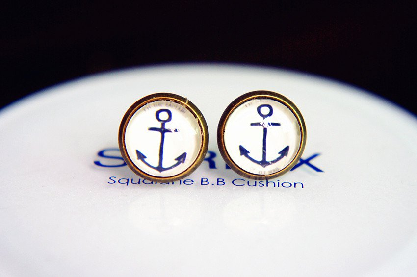 10mm Anchor Earrings Nautical Anchor Stud Earrings Glass Dome Earring,Sailor Post Earrings