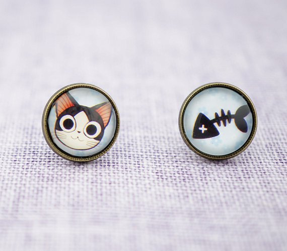 10mm Cat and Fish Earrings,Glass Dome Earring Cat Stud Earrings,Cat Like Fish Post Earrings