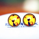 Cat Earrings Glass Dome Earring Black Cat Stud Earrings,Black Cat Post Earrings