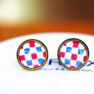 10mm Plaid Earrings Red Blue Checkered Earrings Glass Dome Earrings Plaid Stud Earrings