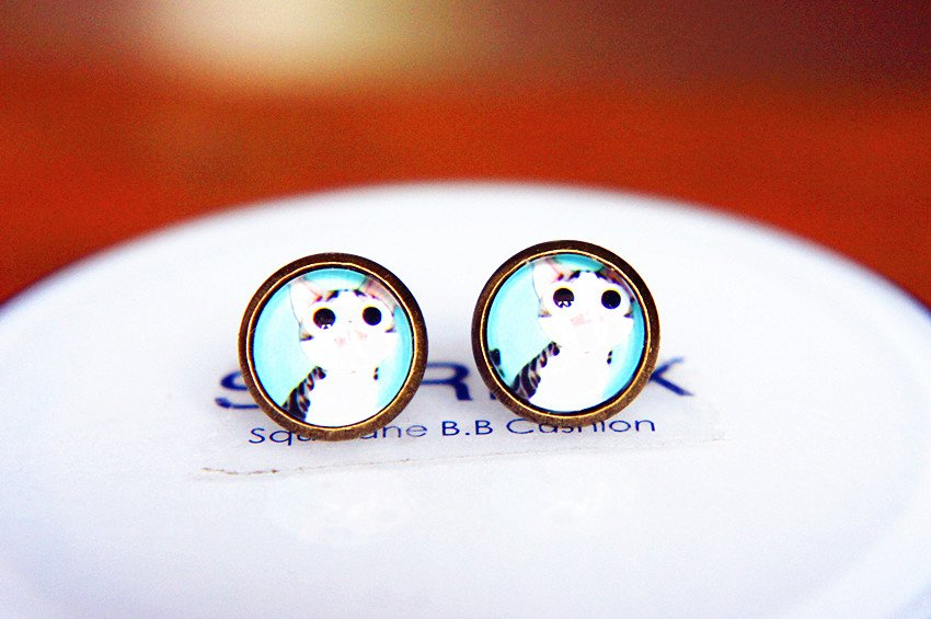 Cat Earrings Glass Dome Earring Cat Stud Earrings,Cat Post Earrings