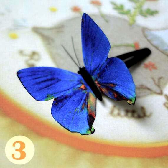 Butterfly Hair Clips Silk Butterfly Bobbypin Wedding Hairpin Bridesmaid hair  (1 piece)