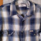 Levi Strauss Signature Vintage Fit Plaid FLANNEL Shirt - Long Sleeve M Light Blue Cowboy Shirt