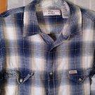 Levi Strauss Signature Vintage Fit Plaid FLANNEL Shirt - Long Sleeve M Light Blue Cowboy Shirt