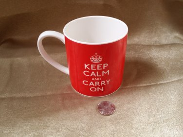 Keep Calm And Carry On Coffee Tea Cup Mug By Rose Of England Fine Bone China Red