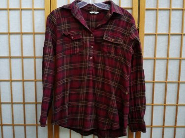 MAURICES WOMEN'S RED BLUE GOLD PINK PLAID BUTTON UP WESTERN FLANNEL SHIRT SIZE Small