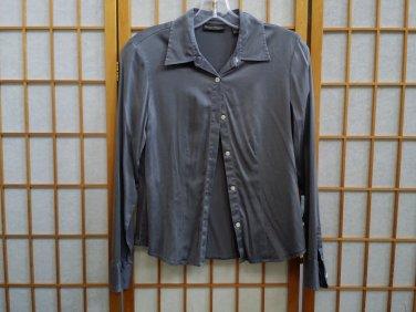Banana Republic Grey S Blouse Silk Stretch Long Sleeve Button Shirt Button Down Shirt