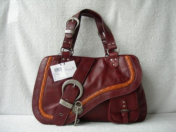 Dior Gaucho Large Double Saddle Real Leather Bag Brown