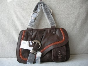 Dior Gaucho Large Double Saddle Real LeatherBag Grey