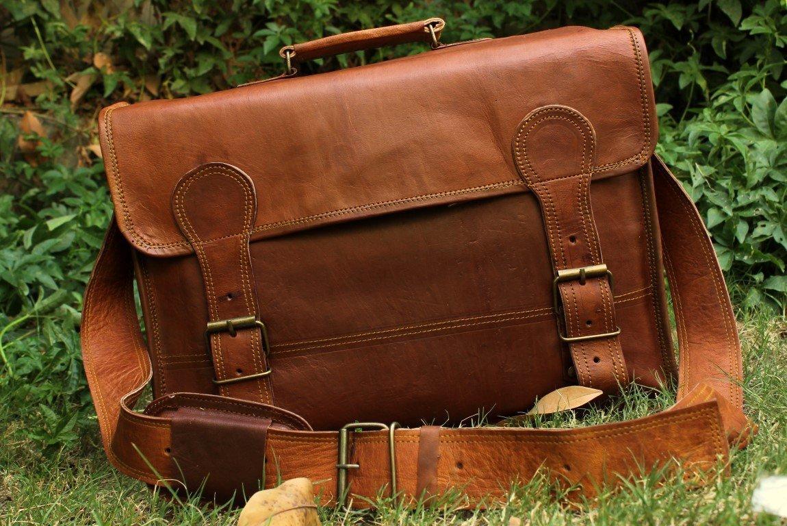 Goat Leather Messenger Breifcase Laptop Satchel Bag