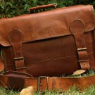 Goat Leather Messenger Breifcase Laptop Satchel Bag
