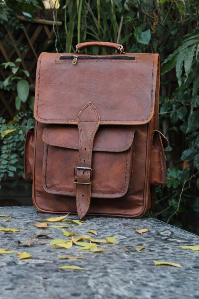 Leather College Backpack/Rucksack/School/Travel Leather Backpack/Laptop Backpack