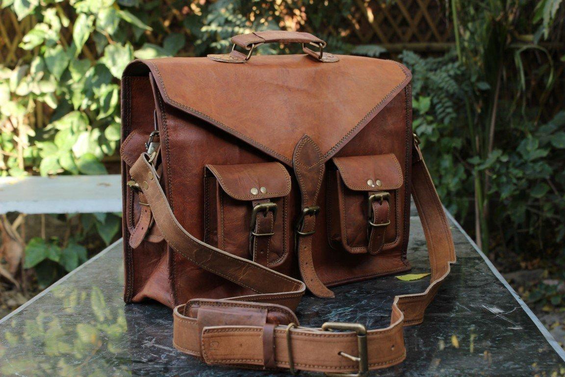 Satchel Messenger Goat Leather Bag laptop Breifcase