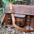 Leather Messenger Satchel Genuine Real Leather Messenger Laptop Briefcase Satchel Mens Bag