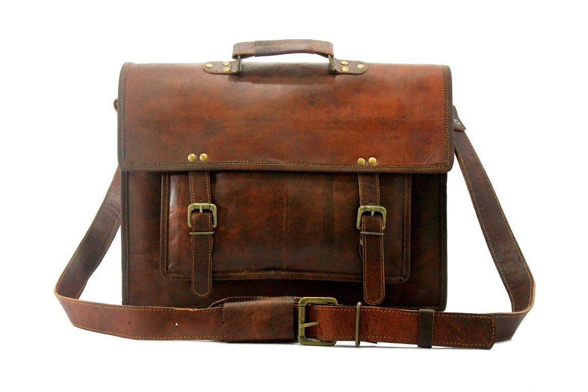 Real Leather Messenger Cum Laptop Cross Body Satchel Brown Bag Briefcase