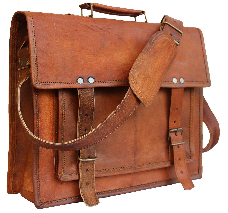 Classic Cross Shoulder 100% Genuine Leather Messenger Laptop Briefcase Bag Satchel Brown