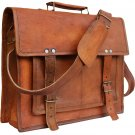 Classic Cross Shoulder 100% Genuine Leather Messenger Laptop Briefcase Bag Satchel Brown