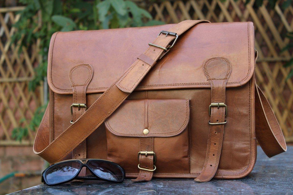 Classic Adult Unisex Cross Shoulder 100% Genuine Leather Messenger/Laptop/Briefcase Bag