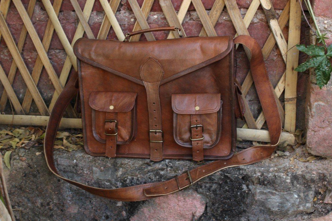 Leather Laptop Messenger Satchel Bag laptop briefcase