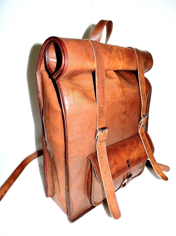 Distressed Goat Leather Messenger / Laptop Satchel College School Backpack Rucksack Shoulder Bag