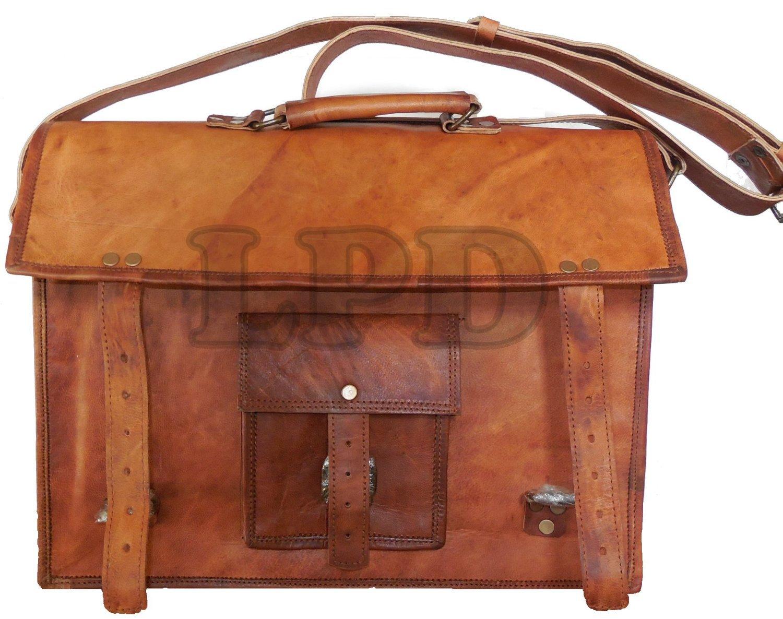 Mens 15'' Brown Leather Laptop Bag Messenger Briefcase Shoulder Bag Handmade