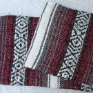 Southwestern Mexican baja blanket yoga blanket pilates blanket Burgundy outback