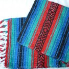 Southwestern Mexican baja blanket yoga blanket pilates red blue outback