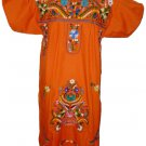 Orange Embroidered Mexican Dress Vintage Tunic Peasant LARGE