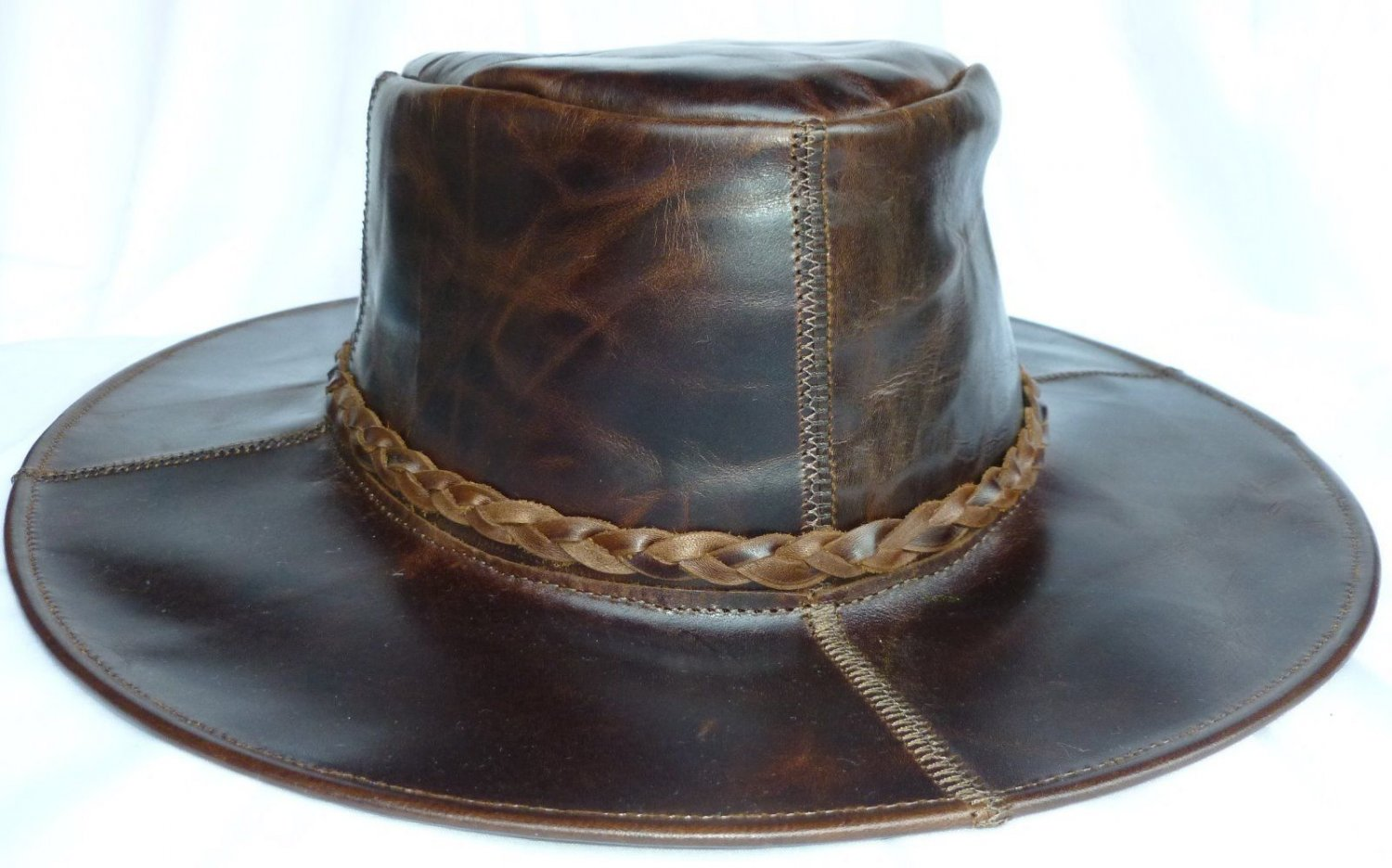 ca0237faa6f Dark Brown Outback Spaghetti Western Leather Cowboy hat S-XL Brown Outdoors  (A)