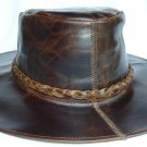 Dark Brown Outback Spaghetti Western Leather Cowboy hat S-XL Brown Outdoors (A)