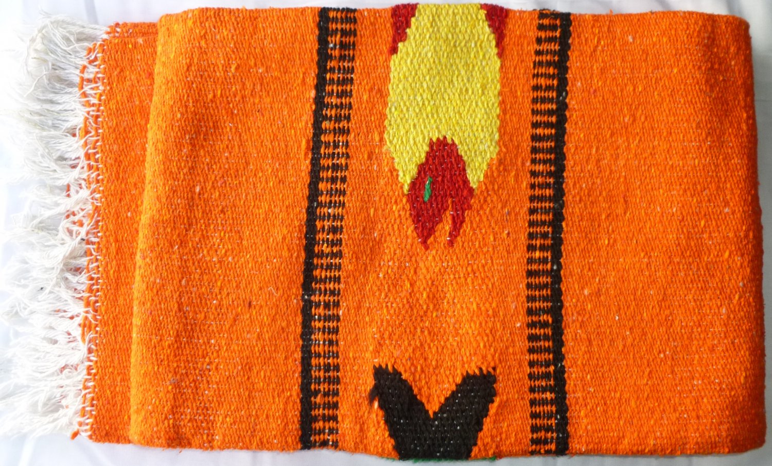 Southwestern Mexican Large serape blanket pilates blanket multi color Fish Orange