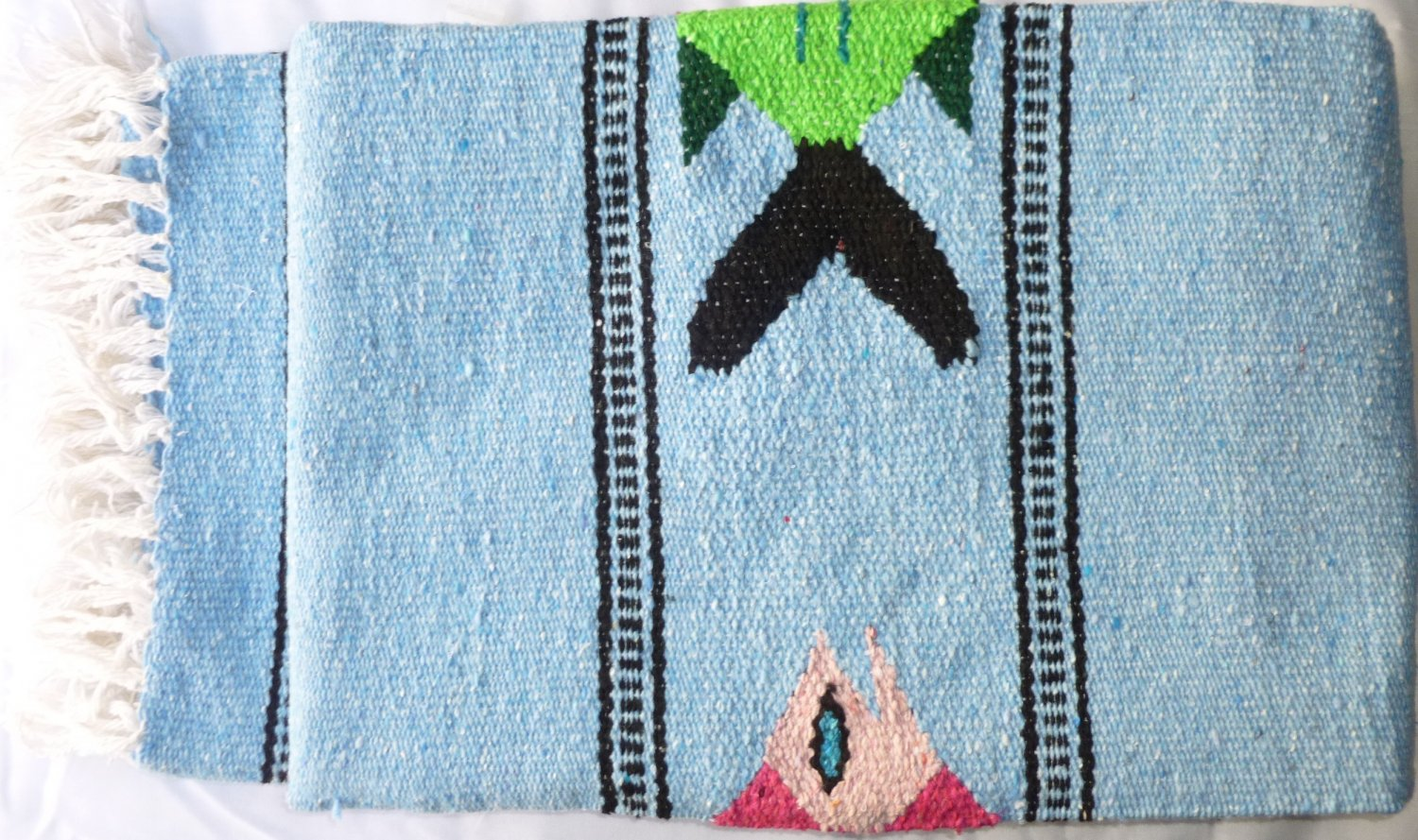 Southwestern Mexican Large serape blanket pilates blanket multi color Fish Baby Blue