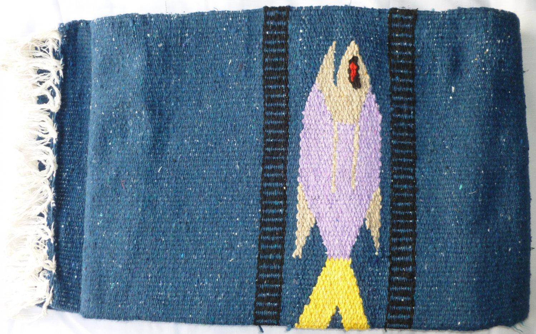 Southwestern Mexican Large serape blanket pilates blanket multi color Fish Navy Blue